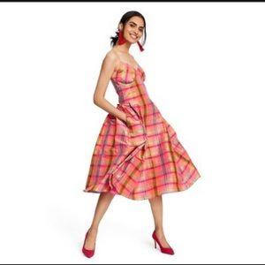 Isaac mizrahi pink plaid silk dress nwot